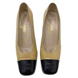 CHANEL Vintage Leather Tan Cap Toe Heels
